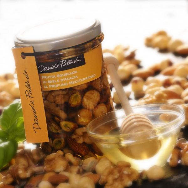 Frutta sgusciata in miele d'acacia al profumo mediterraneo 360 gr